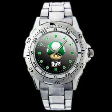 Super Mario Bros 1 UP Green Mushroom New Stainless Steel Wrist Watch 261