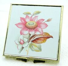 VTG Gold Tone Floral Bouquet Makeup Mirror Brass Compact Made in China