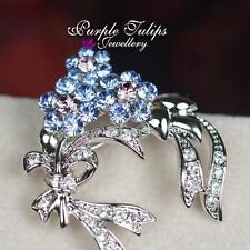 18CT White Gold Plated Gorgeous Flower Brooch Pin Made With Swarovski Crystal