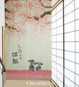 Romantic Blossom Cherry Sakura and Little Dog Japanese Noren Doorway Curtain E21