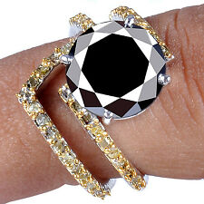 6.21 ct AAA BLACK & GOLDEN NATURAL REAL ROUGH DIAMOND .925 STERLING BRIDAL RING