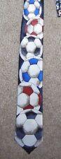 Vtg SOCCER BALL Football World Cup Blue/Red NECK TIE Land World Skinny Thin NICE