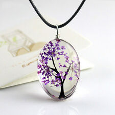 Retro Dried Flower Resin Round Glass Floating Locket Pendant Necklace