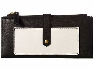 NWT Fossil Keely Tab Clutch Wallet Black & White Leather $75