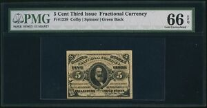 1864-69 FR-1238 5 CENT FRACTIONAL CURRENCY CERTIFIED PMG GEM UNCIRCULATED 66-EPQ