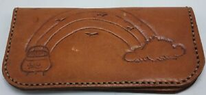 VINTAGE Brown Hand Tooled Leather Wallet Checkbook Clutch Rainbow Pot of Gold