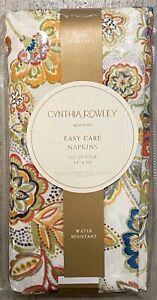 Cynthia Rowley Cream Orange Jacobean Floral Cloth Napkins Set 4 Indoor Outdoor