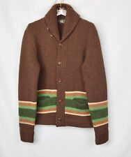 New RRL Ralph Lauren 100% Wool* Olive Shawl Blanket Striped Cardigan NWT S Small