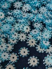 Sequins Starburst Snowflake Flower 8mm Blue Super Shine/Mirror Rare