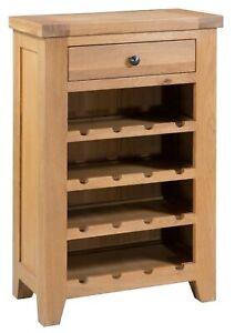 Large Oak 1 Drawer Wine Cabinet Holds 16 Bottles | Wooden Wine Rack Table