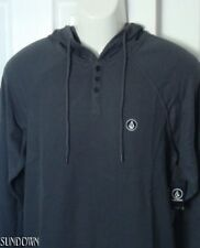 NWT MENS VOLCOM TOASTED CHARCOAL THERMAL HENLEY RAGLAN HOODIE SHIRT XL X-LARGE