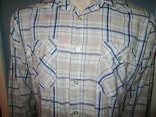 Vintage Levis Men's Blue Brown Plaid Button Up Long Sleeve Shirt Large EUC