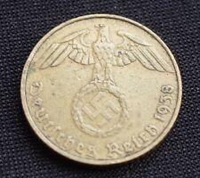 WW2 5 REICHSPFENNIG 1938 COIN *E* WW2 THIRD REICH GERMANY HITLER ERA  /7
