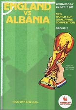 England v Albania 26th April 1989 World Cup Qualifying Programme @ Wembley