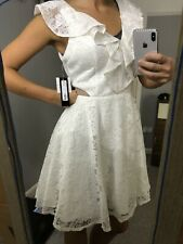 Xcape floral lace dress ruffle shift Wedding Party UK 12 white summer Sexy dress