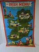 Vintage Irish Linen Tea Towel Irish Menu of Traditional Food