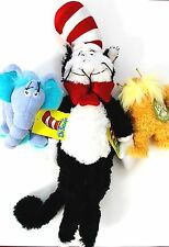 Dr. Seuss Horton, Lorax and Large Cat in the Hat Plush Toys Set of 3 NWT