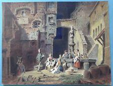 Aquarell Gemälde Die Wäscherinnen Brunnen Hallein Tirol Kopie Carl Spitzweg~1910