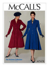 McCall's Sewing Pattern M7478 SZ 6-14 Misses Petite Fit & Flare Coat Collar Var