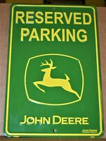 """John Deere Reserved Parking Sign #SP80007 Yellow on Green 12"""" x 8"""", Used VGC"""
