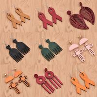 1Pair Bowknot Cross Circle Earrings Dangle Drop Jewelry Wooden Pendant Charms