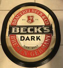 Becks Dark Beer Oval Mirror Bar Advertising Sign Wood Frame German Brew