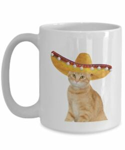 Fiesta Cat Mug - Funny Tea Hot Cocoa Coffee Cup - Novelty Birthday Christmas...