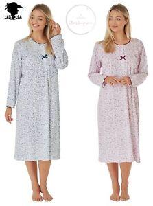 NEW Warm Cotton Jersey Long Sleeve Nightdress by Lady Olga Nightie Size 8-26