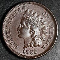 1865 INDIAN HEAD CENT - With LIBERTY & Near 4 DIAMONDS - AU UNC
