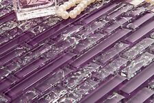 1 m² Viola crackle e Plain VETRO Mosaico Piastrelle Muro Foglio 0168
