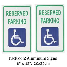 2pc 8''x12'' Reserved Handicap Parking Aluminum Sign w/ Wheel Chair Symbol Decal