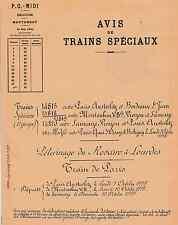 AVIS DE TRAINS SPÉCIAUX - PELERINAGE DU ROSAIRE à LOURDES - 1935 (Chemin de Fer)