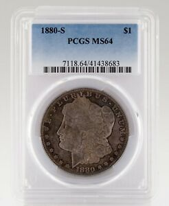 1880-S $1 Silver Morgan Dollar Graded by PCGS as MS-64 Cool Toning!