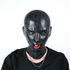 High Quality Latex Mask Hood Red mouth Gag Full covered open nose tube