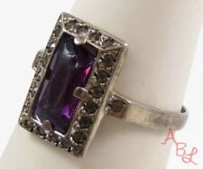 Sterling Silver 925 Victorian Amethyst, Marcasite Ring Sz 6 (2.5g) - 728301