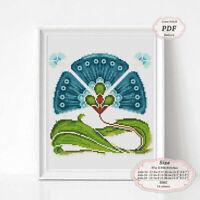 Art Nouveau Blue Flower borders - Embroidery Cross stitch PDF Pattern - 110