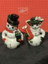 Norcrest Frosty The Snowman and Wife Salt and Pepper Shaker Set Xmas VTG Japan