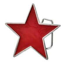 Red Enamel Painted Star Belt Buckle