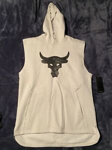 Under Armour Project Rock Charged Cotton Bone Sleeveless Hoodie UA WWE Bull - L