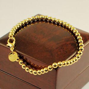 "Yellow Gold Plated Polished 4mm Ball Bead 7.5"" Bracelet - Women's Gift UK"