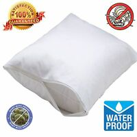 2 Pack Waterproof Hypoallergenic Bed Bug Allergy Relief Zipper Pillow Protector