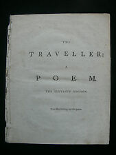 """Oliver Goldsmith """"The Traveller: A Poem"""" 1786 11th Edition by T. Carnan"""
