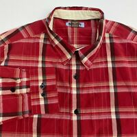 PJ Mark Button Up Shirt Men's 3XL XXXL Long Sleeve Red Black White Plaid Casual