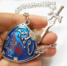 Legend of Zelda Hylian Shield Links Master Sword Necklace Pendant B
