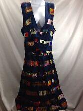 Vintage 80's Artsy Patchwork Boho Gypsy Hippie Peasant Skirt & Vest Set Blue L