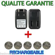 Chargeur + 5 Piles Bouton Lir2032 CR2032 Rechargeable 3.6V Batterie Accu Accus