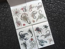Bulk Lot 5 Mini Booklets Of TEMPORARY  Scorpian  Spider Tattoos  Party Halloween