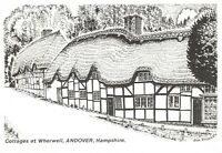 Art Sketch Postcard Cottages at Wherwell Andover Hampshire by Don Vincent AS1