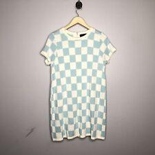 ASOS Women's Light Blue White Checkered Short Sleeve Dress Size Petite 10 P