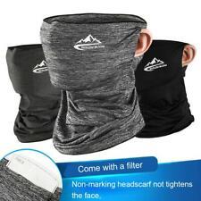 Neck Gaiter Bandana Half Face Mask Ice Silk Face Cover Balaclava Scarf W/ Filter